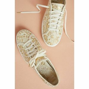 Keds x Rifle Paper Co. Gold Floral Print Sneakers